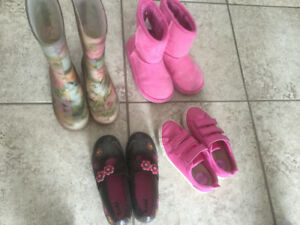Girls shoes, rain boots, sneakers Size 11 and 12