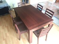Walnut effect dining table and 6 chairs