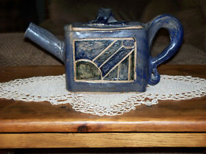 "UNIQUE ""LITTLE BLUE"" TEA POT GLAZED STONEWARE"