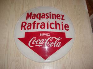 RARE Buvez Coca-Cola Enseigne Magasinez Rafraichie 14 3/8 Dia.