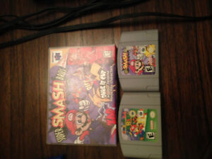 Nintendo 64 with Mario 64 and Super Smash Brothers 64