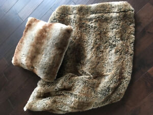Dark brown faux fur throw and pillow