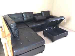 Leather Sectionals Brand New 2pc with ottomans!