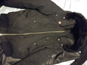 Moose knuckle black bomber with black fur size large