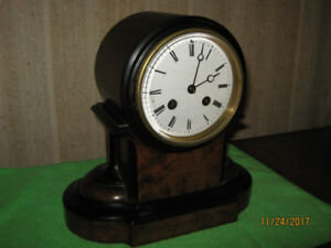 Antique Burl Walnut Mantle Clock (French Bell-chime), 1800's