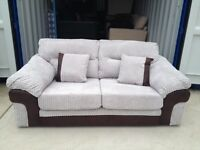 DFS Grey cord & brown faux leather 2 seater sofa (New ex display)