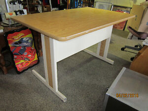 Table With Wood Top & Metal Framing For Sale