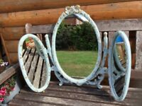VINTAGE TRIPLE DUCK EGG BLUE DRESSING TABLE MIRROR