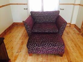 Beautiful love seat/Armchair & footstall