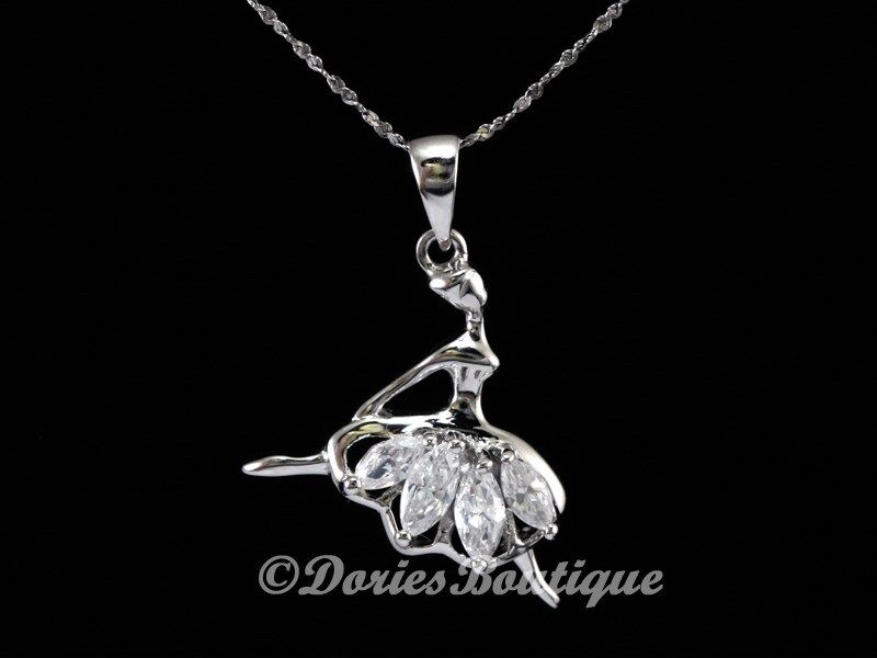 Cute ballet dancer clear cz 925 sterling silver pendant for Z s fine jewelry