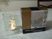 etched glass Christmas candle holder...new