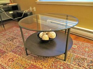 Coffee Table. Round with glass top & wooden shelf