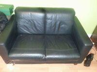 2seater black leather sofa