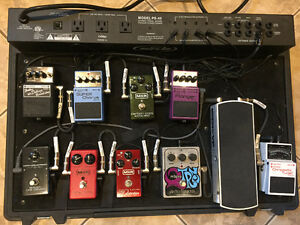 Complete set up, powered pedal board/case and guitar pedals