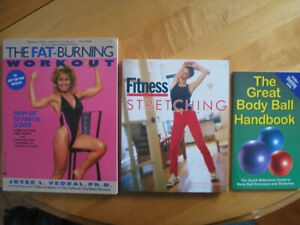 3 FITNESS BOOKS OF MANY VARIOUS TYPES OF EXERCISE FOR SALE