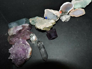 Gems and stones for sale... Amythest, flourite and more