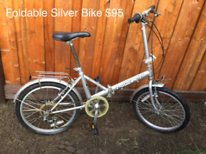 """Foldable Bicycle - Color Silver 20"""" Wheels"""