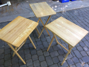 Folding wood tables - set of 3