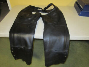 Leather Motorcycle Riding Chaps and Vest