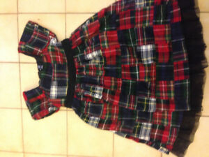 Gap little girl's plaid (red, green, black) holiday dress, 5T