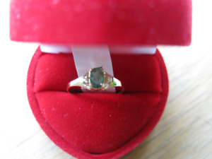 10K Yellow Gold Emerald and Diamond Ring, Size 7