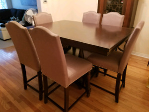 Counter height ding table and six chairs