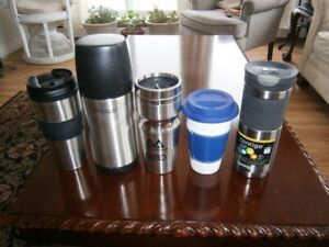 THERMOS AND FOUR THERMAL MUGS
