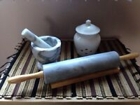 Marble rolling pin, marble motar and pestle, garlic keeper