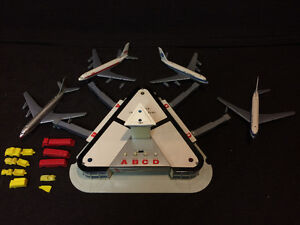 Vintage Tin Toy Jet Airport with Four Planes Sears
