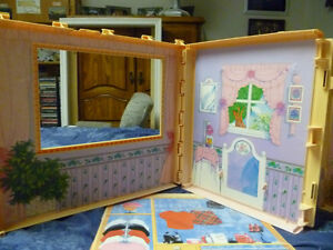 Selling 1 Portable Barbie Dollhouse with handle plus furniture