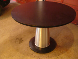 MODERN  ROUND DINING TABLE – Glass, Aluminum, and Marble – for