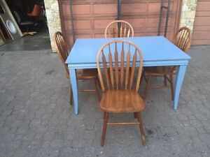 Presidents Choice Blue Table & 4 Antique Wood Chairs