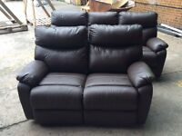 Harvey's Bailey brown leather reclining 3+2 seater sofa ex display model
