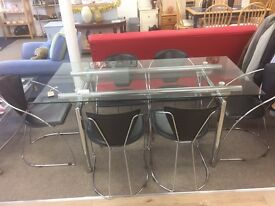 Glass square dining table 6 chairs