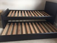Brown Faux Leather single guest bed frame