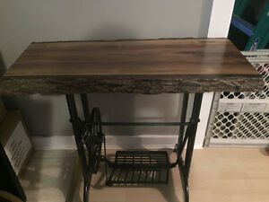 Antique Table -Sewing machine base w Live edge wood top