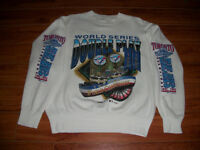 Nice Blue Jays 1992-93 White Crew Neck Double Play Men L Sweater