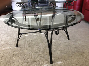 Round glass top coffee table set