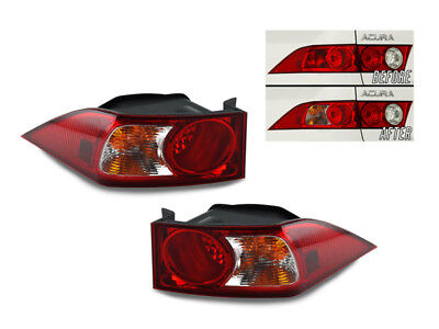 JDM Red/Clear Outer Left+Right Euro Tail Lights For 2006-2008 Acura TSX
