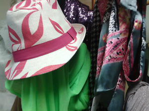 Hats and scarves at Second Stage