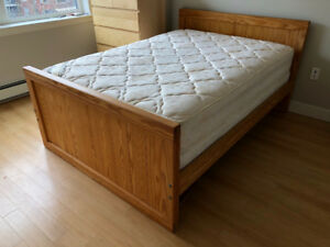 Double Bed Frame with Mattress and Box Spring