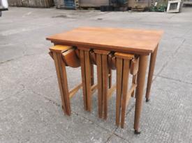 Mid century retro vintage teak nest of tables