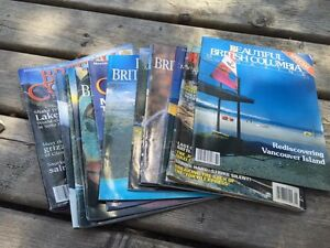 A stack of vintage Beautiful British Columbia magazines