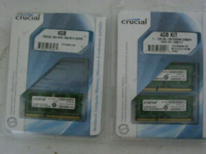 Crucial DDR3 1x4GB or 2x2GB DDR3 PC3-8500 CL7 laptop RAM kits