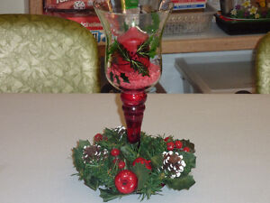 Christmas Vase with Candle $25