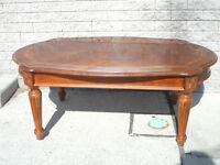 All WOOD Antique COFFEE TABLE w/ Inlaid TOP & Legs UNSCREW!!