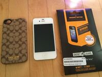 iPhone 4S with Screen Protector and Coach Phone Case