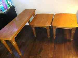 3 Solid Wooden Tables