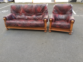 Oxblood Leather 3 Seater Sofa and Chair