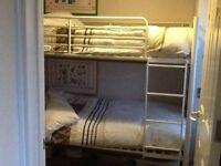 Metal framed bunk beds, in white...